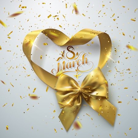8 of March. International women day. Vector holiday illustration of golden ribbon heart and bow with sparkling confetti glitters. Festive decoration Ilustracja