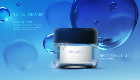 glass containers: Beauty anti aging cream ads.