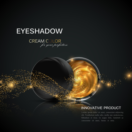 beauty products: Beauty eye shadows ads. Illustration
