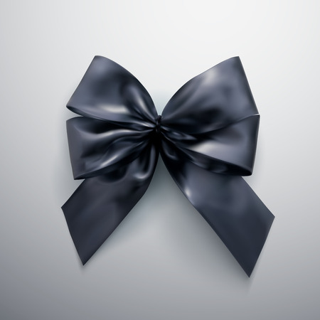 Black Bow And Ribbons. Illustration