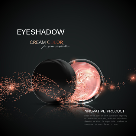 luxuries: Beauty eye shadows ads. Illustration