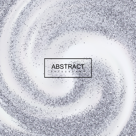 platinum: Silver Confetti Glitters On Creamy Swirling Background. Illustration