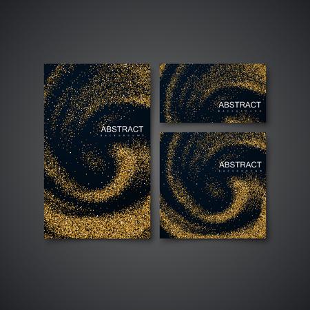 Golden Confetti Glitters On Black Swirling Background.