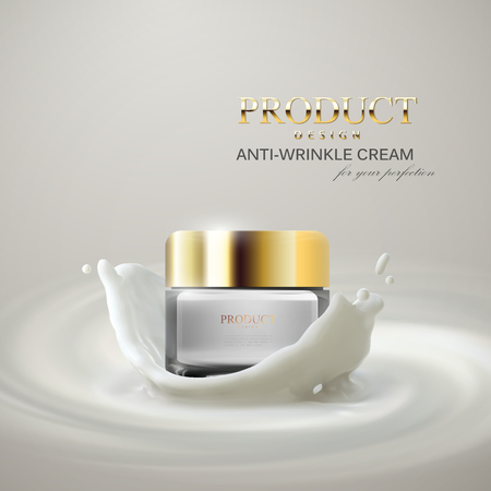 Lifting facial cream ads poster template. 矢量图像