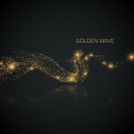 liquid reflect: Glittering stream of gold sparkles. Illustration
