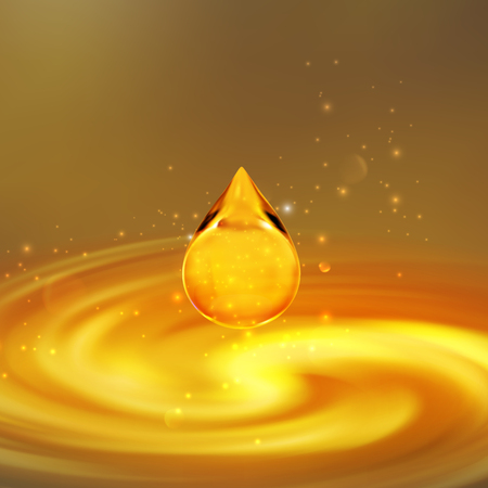 Transparent golden oil droplet.