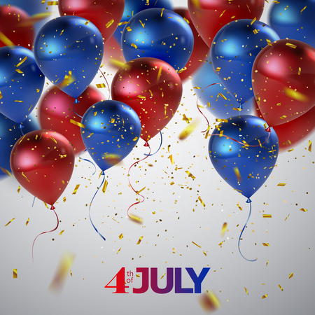 red america: Independence Day. 4th of July. United States of America holiday event. Vector illustration. Festive postcard design with flying glossy red and blue balloons and golden confetti
