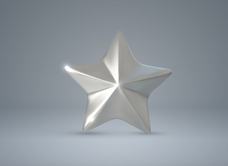 Silver star. Vector realistic 3d illustration.