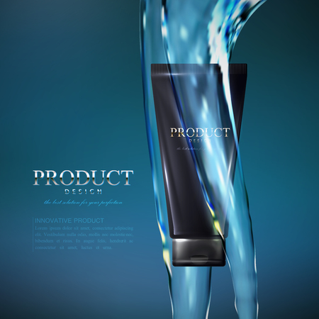 Cosmetics product ads poster template. Cosmetic package mockup design. Moisturizing facial or body cream tube with fluid transparent water streams. 3d vector illustration for fashion magazine.