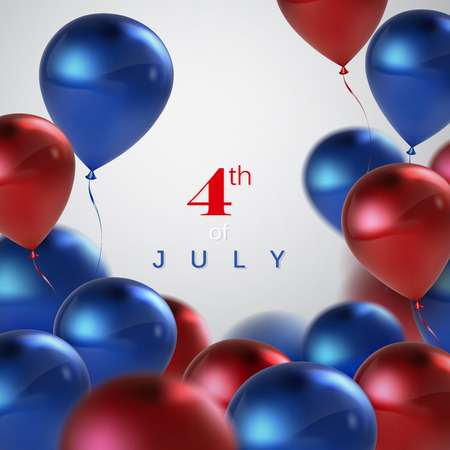 red america: Independence Day. 4th of July. United States of America holiday event. Vector illustration. Festive postcard design with flying glossy red and blue balloons