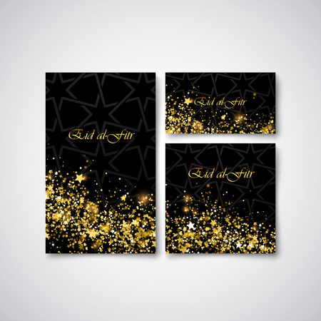 nighttime: Eid al Fitr. Vector islamic religious illustration of stationery with glowing stars and glitters and arabic pattern. Muslim Feast of Breaking the Fast postcard, flyer, cover design