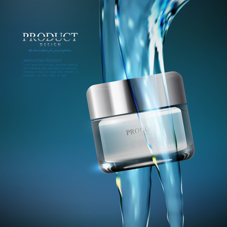 h2o: Cosmetics product ads poster template Stock Photo