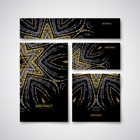 artdeco: Festive stationery design template with glittering golden and silver paillettes ornament. Stock Photo