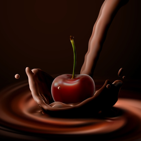 Cherry falling in the chocolate
