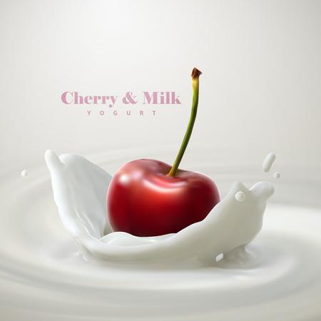 Cherry falling in the yogurt
