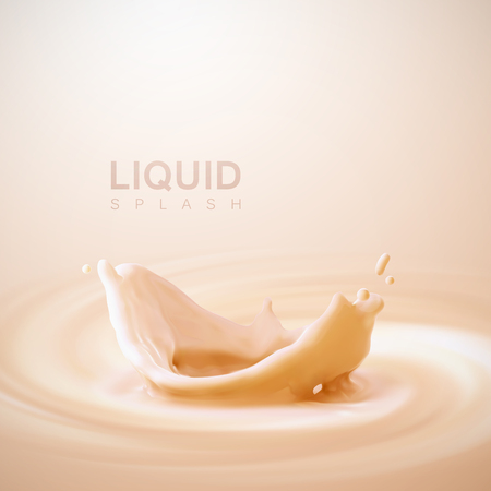 Peach or apricot flavor yogurt crown splash