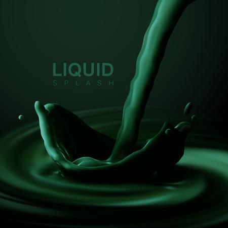nails: Green liquid crown splash. Illustration