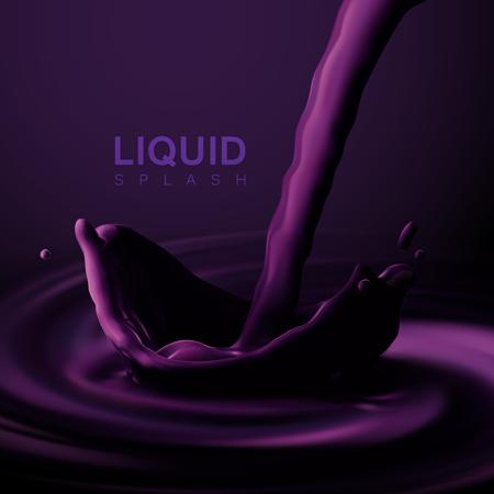 Violet liquid crown splash. Illustration