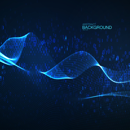 Abstract glowing virtual neon wave with chaotic binary code particles. 向量圖像