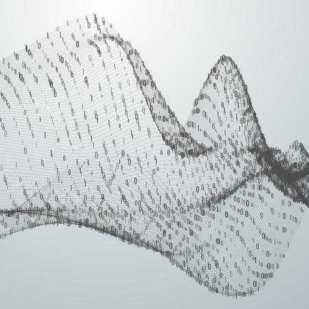Abstract virtual digital wave of binary code particles 일러스트