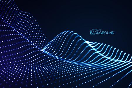 3D gloeiende neon digitale reliëf van deeltjes
