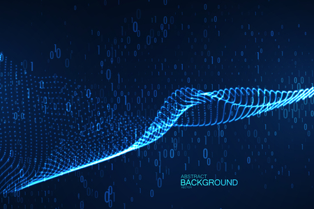 Abstract virtual digital wave of binary code particles Illustration