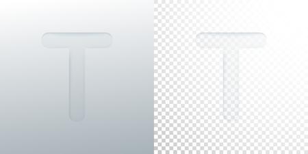 3d paper cut letter T isolated on transparent checkered background. Ilustração