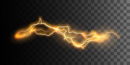 Efecto de electricidad visual. Descarga de energía potente que brilla intensamente aislada en fondo transparente a cuadros. Relámpago. Ilustración vectorial