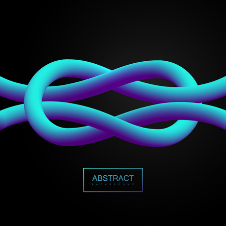 Abstract 3d blue smooth tied lines. Vector artistic illustration. Vibrant blend gradient shapes. Liquid color paths. Creativity concept. Visual communication poster design. Tied knot shape