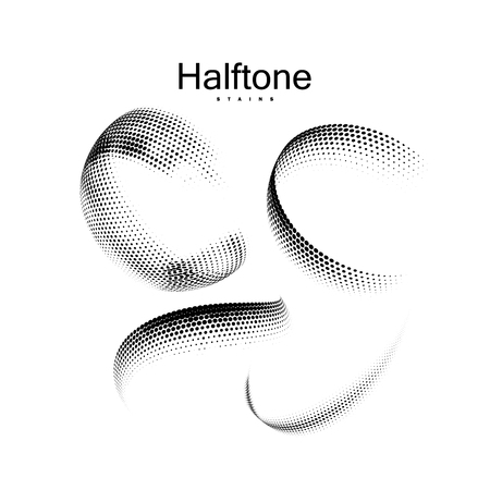 Halftone 3d circular shapes collection. Vintage vector halftone curved ribbons. Set of dotted stains. Web and print design elements
