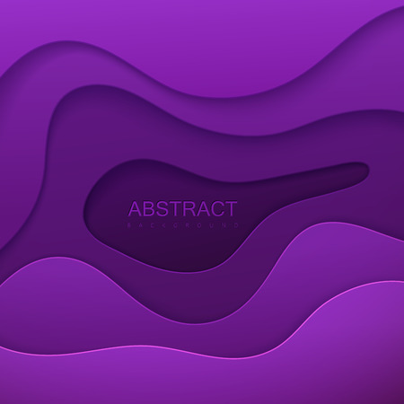 Vector illustration of purple paper decoration with wavy layers.