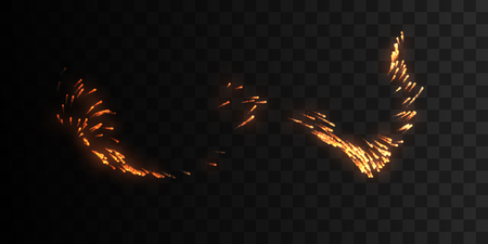 erupting: Glowing wave of fire sparkles isolated on black background.