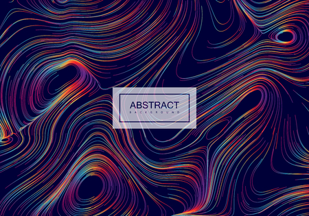 Abstract background with curled linear rainbow pattern.