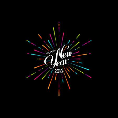 Happy 2018 New Year. Vektorové ilustrace