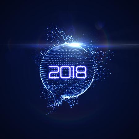 Happy New 2018 Year. Vectores