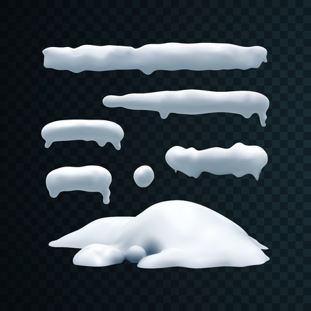 Vector set of snow caps, snowball and snowdrift. Illustration