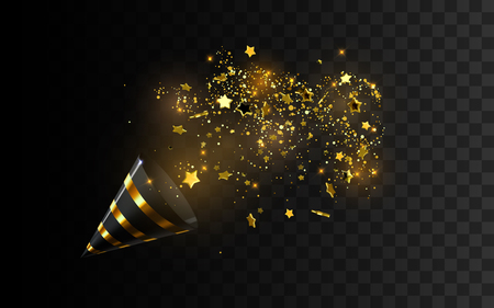 Golden party popper with exploding confetti glitters. Illustration
