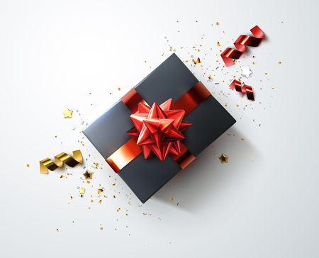 Black gift box with shiny red ribbons, bow and shredded confetti particles and stars vector