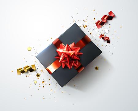 Zwarte geschenkdoos met glanzende rode linten, boog en geraspte confetti deeltjes en sterren vector