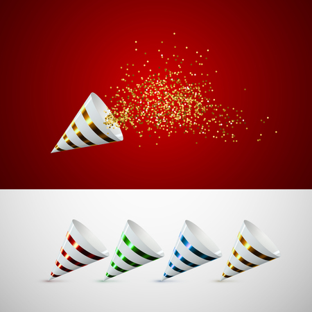 Trumpet horn with confetti vector