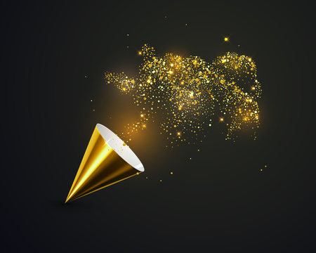 Golden party popper with golden spraying confetti particles vector