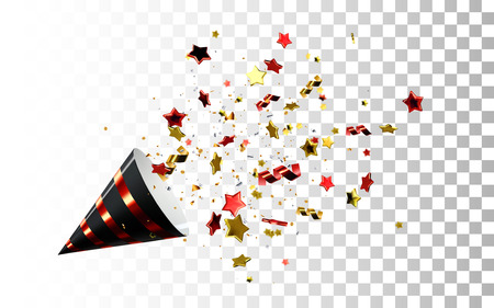 Festive black and red party popper vector Illustration