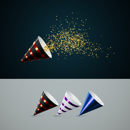 Party popper with golden spraying confetti particles vector