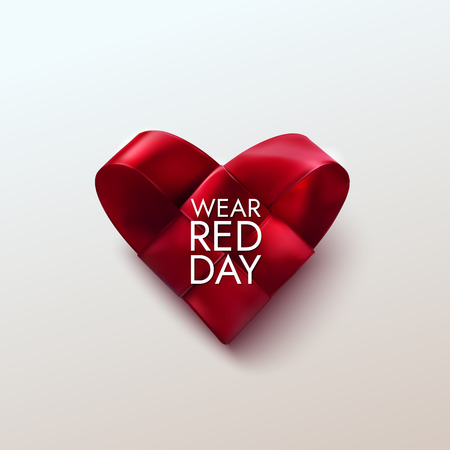 National wear red day vector holiday illustration of realistic woven fabric heart. Awareness day of women heart disease prevention, medical cardiology concept.