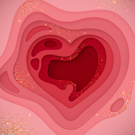 Paper cut background. Pink paper layered heart shape textured with shiny golden strass. Ilustração
