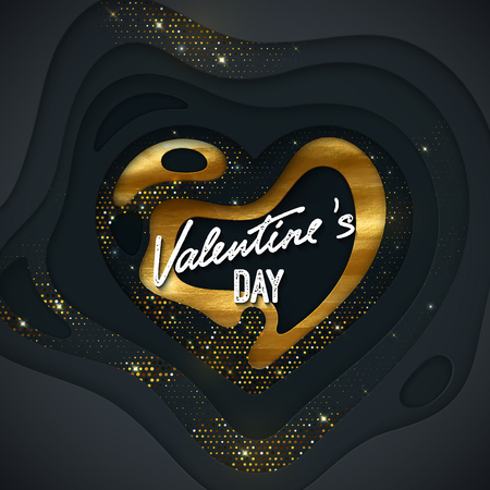 Valentines Day cover design. Black paper cut heart shape textured with golden paint layer and sparkling jewelry strass.