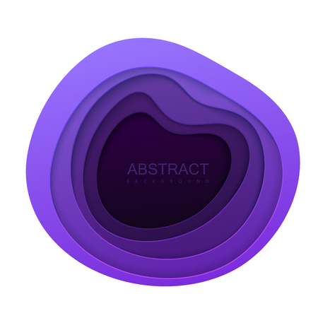 Papier abstrait coupé de fond. Cavité en couches de papier violet isolé sur blanc. Cadre décoratif en origami ou sculpture. Concept de topographie. Illustration vectorielle Vecteurs