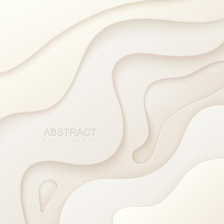 Abstracte papier gesneden achtergrond. Witboek lagen. Origami of carving decoratie. Topografie concept. Vector illustratie