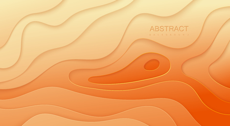 Abstract orange background with paper cutout layers. Illustration