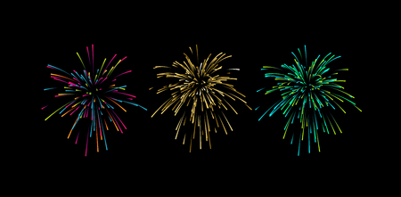 Colorful confetti or fireworks explosions isolated on black